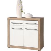 KOMODA, bela, hrast sonoma - bela/hrast sonoma, Design, umetna masa/leseni material (95/88/40cm) - XORA