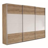 OMARA Z DRSNIMI VRATI, bela, hrast - bela/hrast, Design, leseni material (270/210/62cm) - Xora