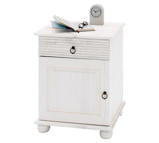 NACHTKÄSTCHEN Kiefer massiv lackiert Weiß  - Weiß, Design, Holz/Metall (48/60,5/40cm) - Carryhome