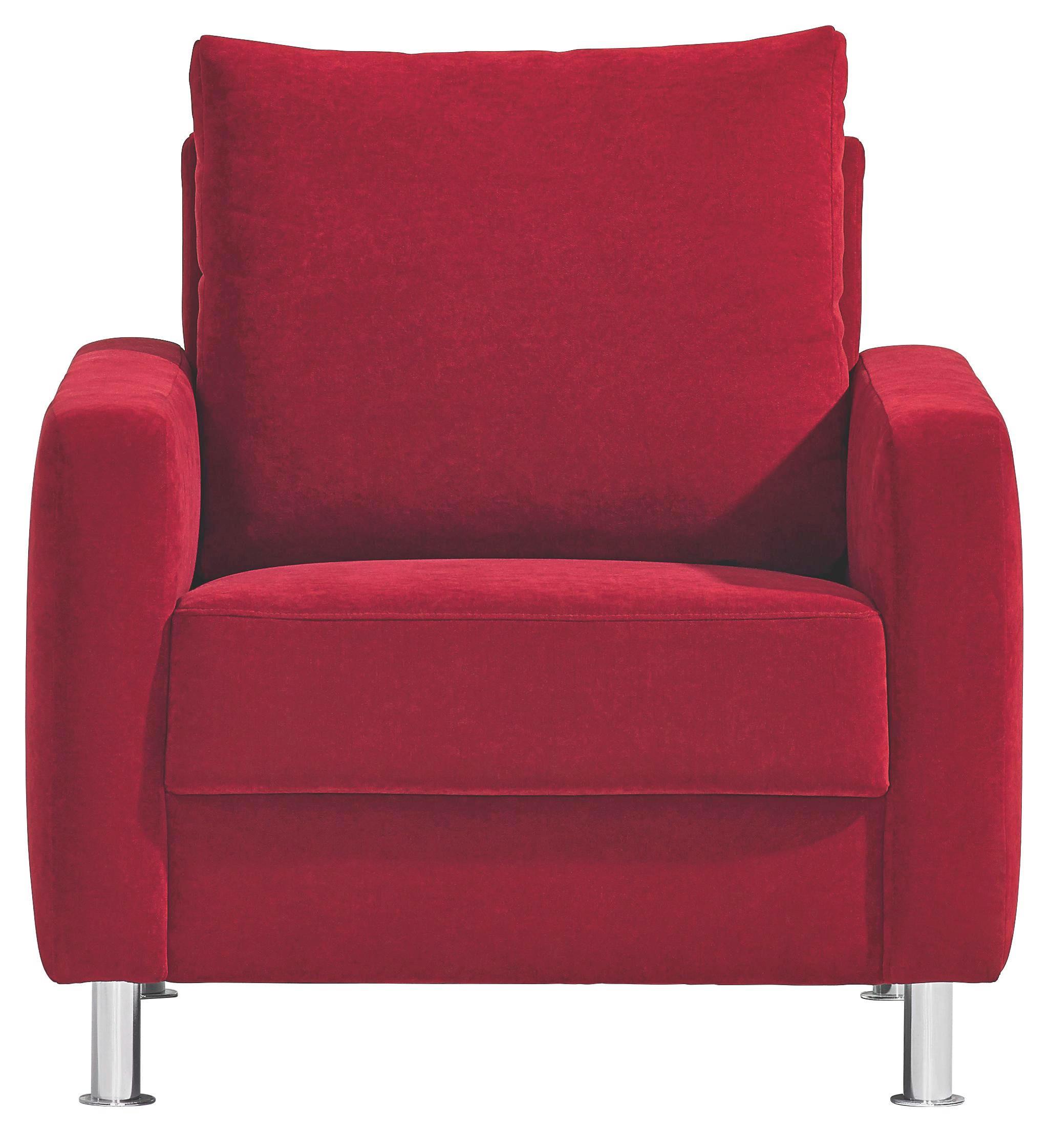 SESSEL Rot - Chromfarben/Rot, Design, Textil/Metall (81/90/85cm) - BALI