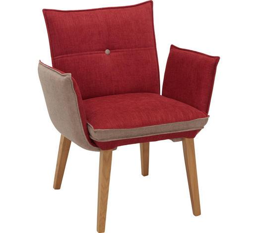 ARMLEHNSTUHL in Grau, Rot, Eichefarben - Eichefarben/Rot, KONVENTIONELL, Holz/Textil (70/86/63,5cm) - Voleo