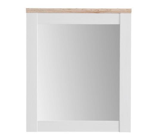 ZRCADLO, 76/91/4 cm,  - bílá/barvy dubu, Lifestyle, kompozitní dřevo/sklo (76/91/4cm) - Xora