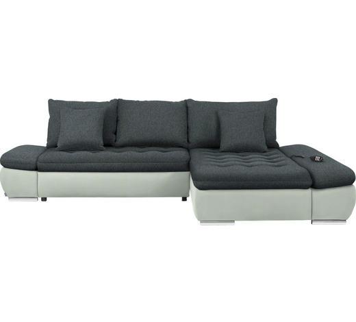 WOHNLANDSCHAFT in Textil Anthrazit, Weiß  - Chromfarben/Anthrazit, Design, Textil/Metall (309/200cm) - Hom`in