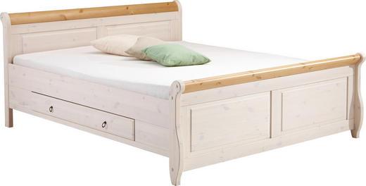 BETT Kiefer massiv 180/200 cm - Weiß/Kieferfarben, LIFESTYLE, Holz (180/200cm) - CARRYHOME