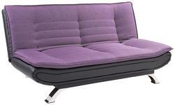 Schlafsofa Bari - Edelstahlfarben/Violett, MODERN, Textil/Metall (190/90/102cm) - Ombra