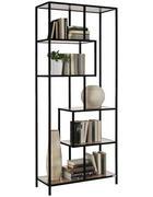 REGÁL, černá, barvy dubu - černá/barvy dubu, Trend, kov/kompozitní dřevo (77/185/34cm) - Xora