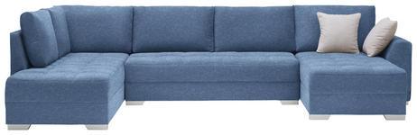 WOHNLANDSCHAFT in Textil Blau - Blau/Silberfarben, Design, Kunststoff/Textil (208/350/168cm) - Xora