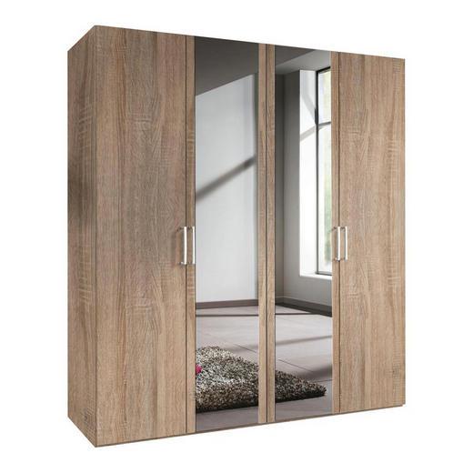 DREHTÜRENSCHRANK 4-türig Sonoma Eiche - Alufarben/Weiß, KONVENTIONELL, Glas/Holzwerkstoff (200/216/58cm) - Hom`in
