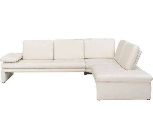 Ecksofa Weiß Echtleder  - Silberfarben/Weiß, Design, Leder/Metall (284/225cm) - Chilliano