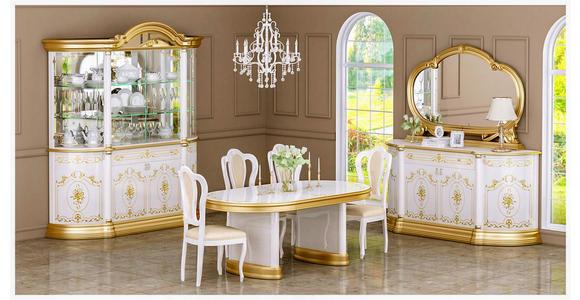 STUHL in Textil, Holzwerkstoff Weiß, Goldfarben  - Goldfarben/Weiß, LIFESTYLE, Holzwerkstoff/Textil (48/105/54cm) - Cantus