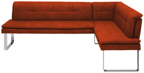 ECKBANK 253/174 cm  in Orange, Chromfarben  - Chromfarben/Beige, Design, Textil/Metall (253/174cm) - Novel