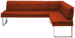 ECKBANK 253/174 cm  in Orange, Chromfarben  - Chromfarben/Orange, Design, Textil/Metall (253/174cm) - Novel