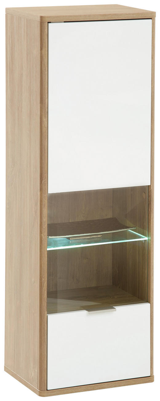 HÄNGEVITRINE Eichefarben, Weiß - Edelstahlfarben/Eichefarben, Design, Glas/Holzwerkstoff (41/121/32cm) - Hom`in