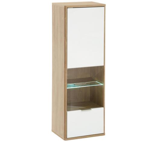 HÄNGEVITRINE in Weiß, Eichefarben - Edelstahlfarben/Eichefarben, Design, Glas/Holzwerkstoff (41/121/32cm) - Hom`in
