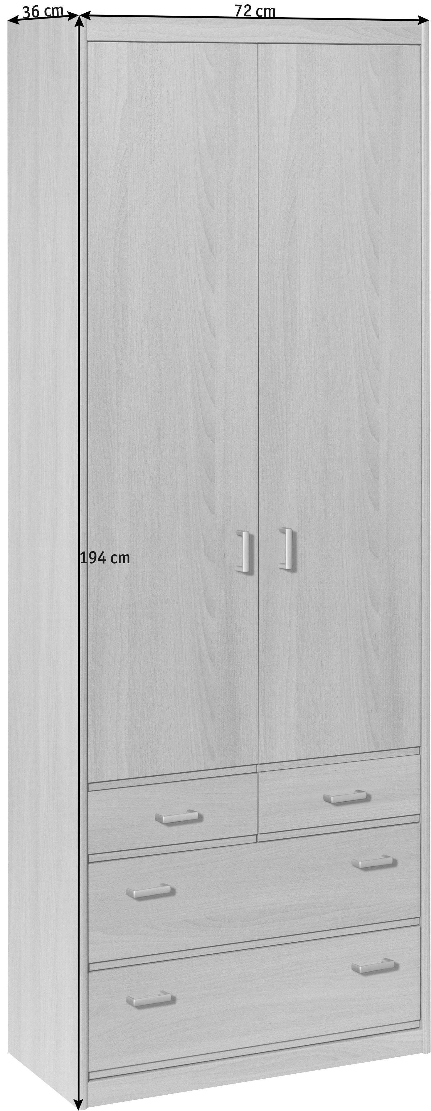 MEHRZWECKSCHRANK in Buchefarben - Silberfarben/Buchefarben, KONVENTIONELL, Holzwerkstoff/Kunststoff (72/194/36cm) - CS SCHMAL