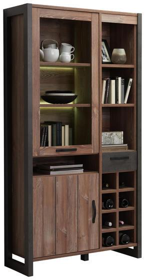 VITRINSKÅP - mörkgrå/furufärgad, Trend, glas/träbaserade material (104,8/204,6/43cm) - Carryhome
