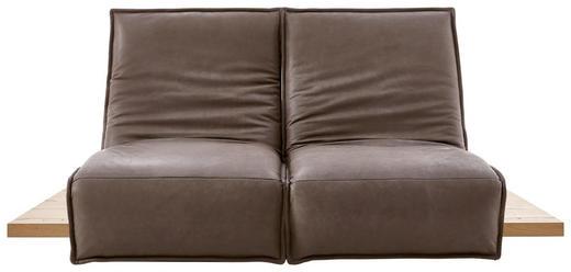 Zweisitzer Sofa In Holz Leder Eichefarben Grau Online Kaufen