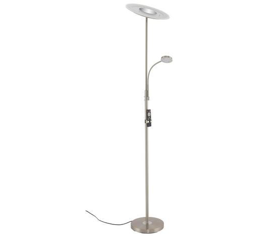 LED-STEHLEUCHTE - Nickelfarben, Design, Glas/Metall (180cm)