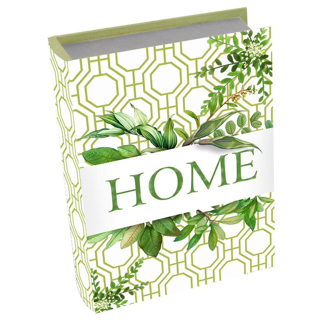 Image of Ambia Home Bücherbox 32/24/8 cm , Gf-Rwb0051 , Grün , Holzwerkstoff , 1 Fächer , 24x8x32 cm , bedruckt,Nachbildung , Deckel, Deckel aufklappbar, handgemacht , 008325003903