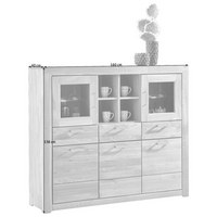 KOMODA HIGHBOARD - barvy dubu/barvy nerez oceli, Konvenční, kov/dřevo (160/136/40cm) - Cantus
