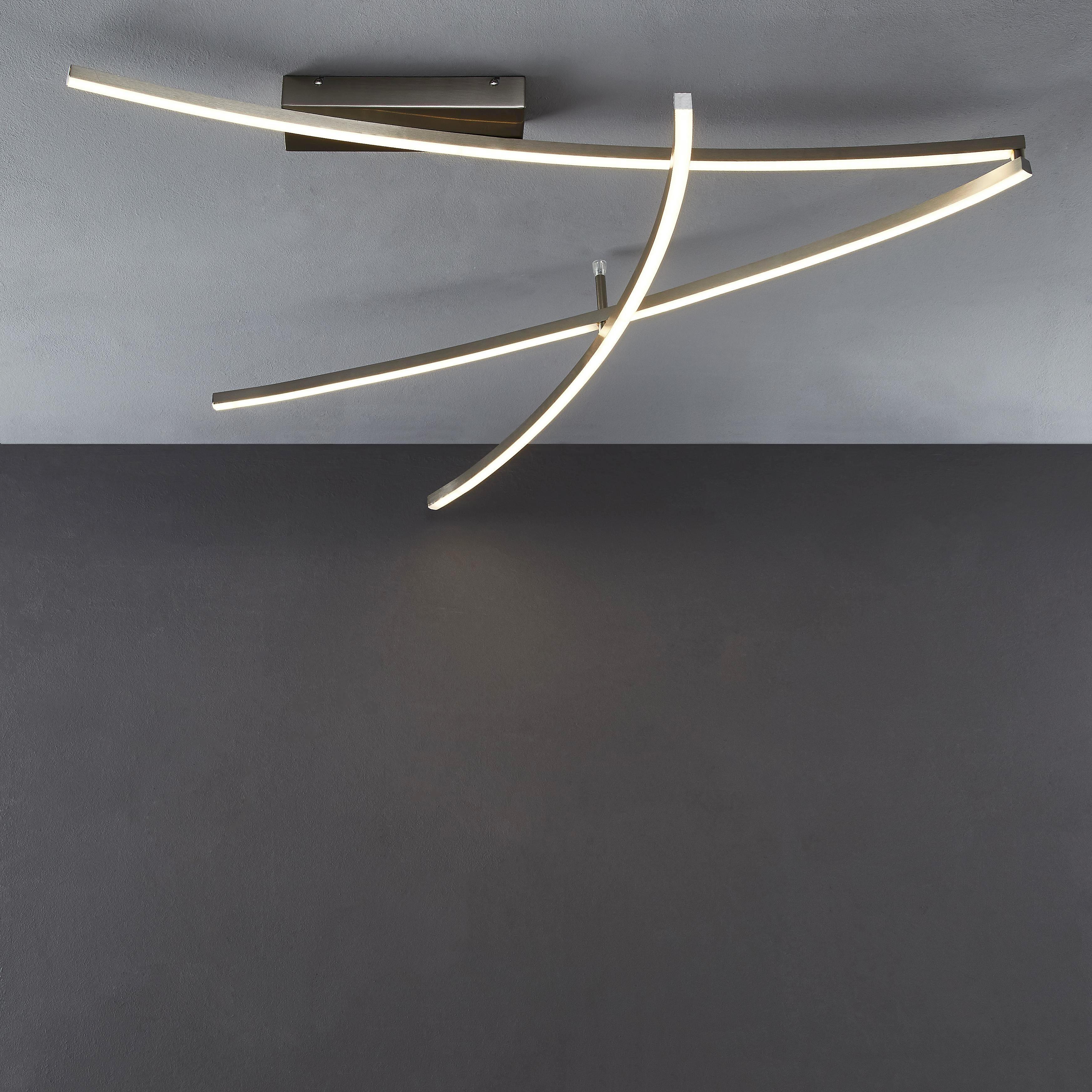 LED-DECKENLEUCHTE - Nickelfarben, Design, Kunststoff/Metall (32/28/112cm) - NOVEL