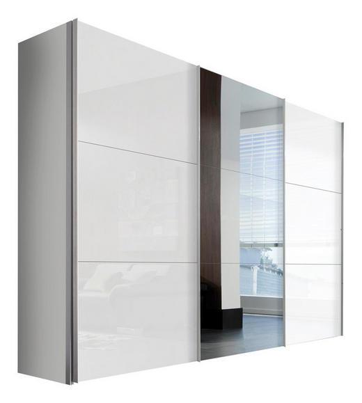 SCHWEBETÜRENSCHRANK 2  -türig Weiß - Alufarben/Weiß, KONVENTIONELL, Glas/Holzwerkstoff (300/216/68cm) - Hom`in