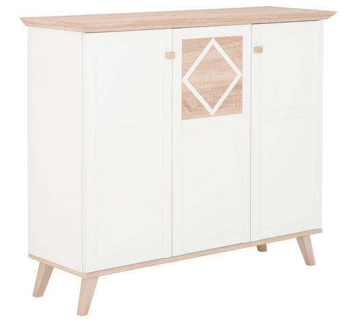 KOMODA HIGHBOARD, bílá, barvy dubu - bílá/barvy dubu, Design, kompozitní dřevo (133/113/45cm) - Carryhome