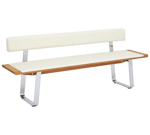 SITZBANK 200/80/52 cm  in Weiß, Eichefarben  - Eichefarben/Weiß, Design, Leder/Holz (200/80/52cm) - Team 7