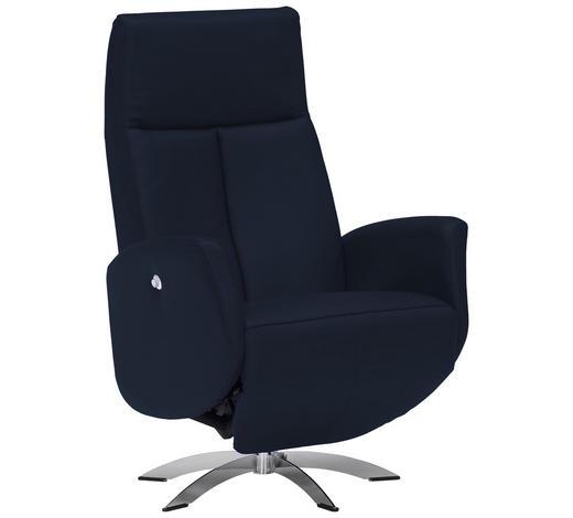 RELAXSESSEL in Textil, Leder Blau - Chromfarben/Blau, Design, Leder/Textil (71/105/75cm) - Welnova