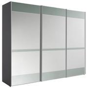 Schwebetürenschrank in Grau - Chromfarben/Grau, Konventionell, Glas/Holzwerkstoff (280/222/68cm) - Moderano