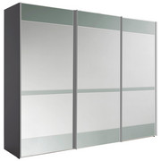 SKŘÍŇ S POSUVNÝMI DVEŘMI, šedá - šedá/barvy chromu, Konvenční, kov/kompozitní dřevo (280/222/68cm) - Moderano