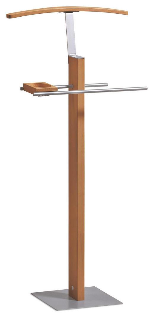 HERRENDIENER Edelstahlfarben, Eichefarben, Naturfarben - Edelstahlfarben/Eichefarben, KONVENTIONELL, Holz/Metall (45/107/28cm) - Hasena