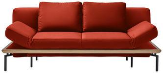 SCHLAFSOFA in Textil Rot  - Rot/Schwarz, MODERN, Textil/Metall (214/89/103cm) - Dieter Knoll