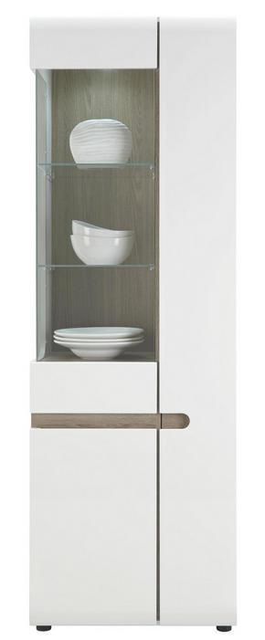 VITRINSKÅP - vit/färg tryffelek, Design (64/195/42cm) - Carryhome