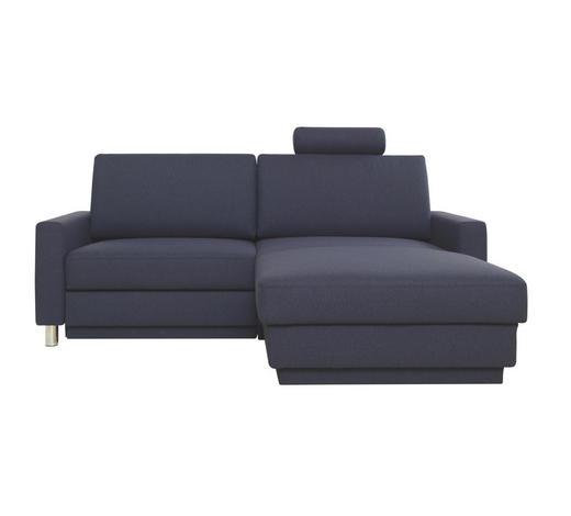 WOHNLANDSCHAFT in Textil Dunkelblau - Chromfarben/Dunkelblau, Design, Textil/Metall (207/158cm) - Venda
