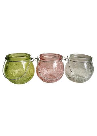 SVEČNIK - roza/zelena, Trendi, kovina/steklo (9/8cm)