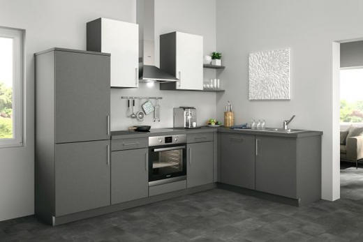 Eckküche ohne E-Geräte - Weiß/Grau, Design (285/185cm) - Set one by Musterrin