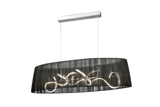 HÄNGELEUCHTE - Schwarz/Nickelfarben, MODERN, Textil/Metall (110/150/40cm)