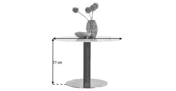 ESSTISCH in massiv Eiche Edelstahlfarben, Eichefarben, Weiß - Edelstahlfarben/Eichefarben, Design, Glas/Holz (90/77cm) - Dieter Knoll