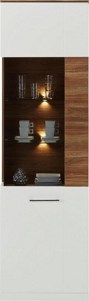 VITRINSKÅP - vit/akaciefärgad, Design, träbaserade material (60/202/40cm) - Premium Living