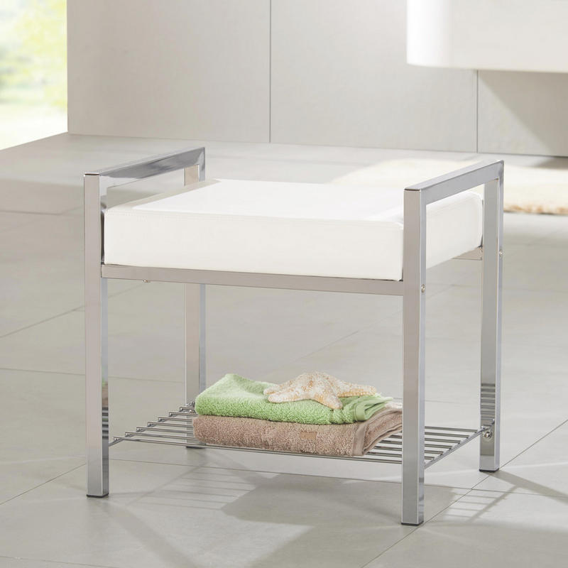 BADPALL - vit/kromfärg, Basics, metall/textil (50/47/38cm) - Xora