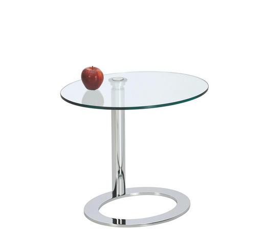 BEISTELLTISCH in Metall, Glas 50/40/44-62 cm - Klar/Chromfarben, Design, Glas/Metall (50/40/44-62cm)