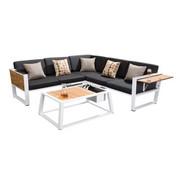 LOUNGEGARNITUR 15-teilig - Schwarz/Weiß, Design, Holz/Textil (224,50/224,50cm) - AMBIA GARDEN