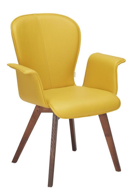 ARMLEHNSTUHL Echtleder Eiche massiv Gelb, Nussbaumfarben - Gelb/Nussbaumfarben, Design, Leder/Holz (69/91/61cm) - Bert Plantagie