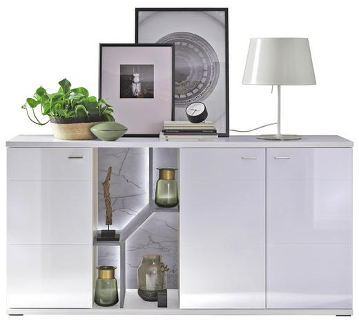 SIDEBOARD 180,1/90,8/44 cm - Weiß/Grau, MODERN, Holzwerkstoff/Metall (180,1/90,8/44cm) - Stylife