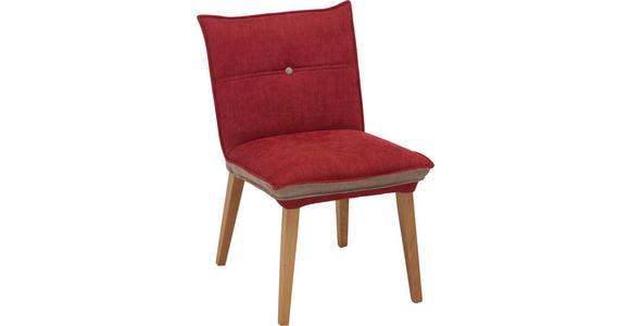 STUHL in Holz, Textil Grau, Rot, Eichefarben  - Eichefarben/Rot, KONVENTIONELL, Holz/Textil (54/86/61cm) - Voleo