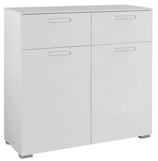 KOMMODE Weiß - Silberfarben/Alufarben, Design, Holzwerkstoff/Kunststoff (110/106/42cm) - HOM`IN