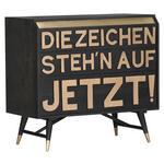 SIDEBOARD Mangoholz massiv Schwarz, Messingfarben  - Messingfarben/Schwarz, Trend, Holz/Metall (95/87/45cm) - Carryhome
