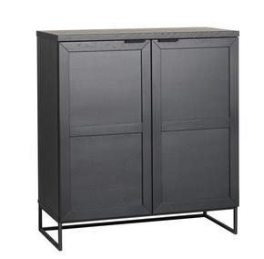HIGHBOARD - svart, Modern, metall/trä (95/125/41cm) - Rowico