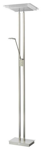 STEHLEUCHTE - Chromfarben/Nickelfarben, Design, Glas/Metall (38/185cm)